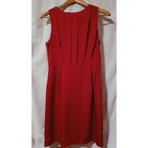 Shirred red cocktail dress, exposed zipper